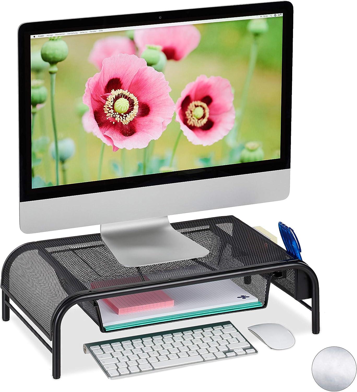 Relaxdays Monitorständer Schublade 2 Seitenfächer Bildschirmständer Bis 29 Zoll Hxbxt Amazon De