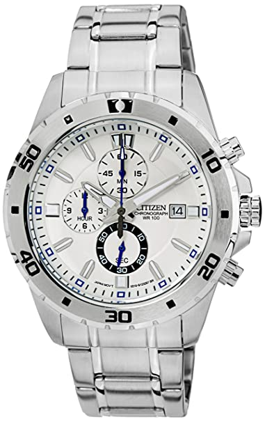 Citizen Chronograph White Dial Men's Watch - AN3500-53A Men at amazon