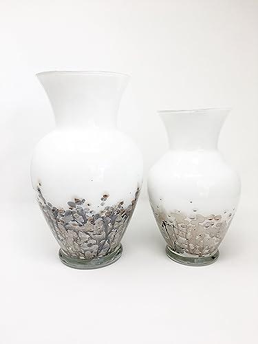 Amazon White Vase Set Hand Painted Glass Art Handmade