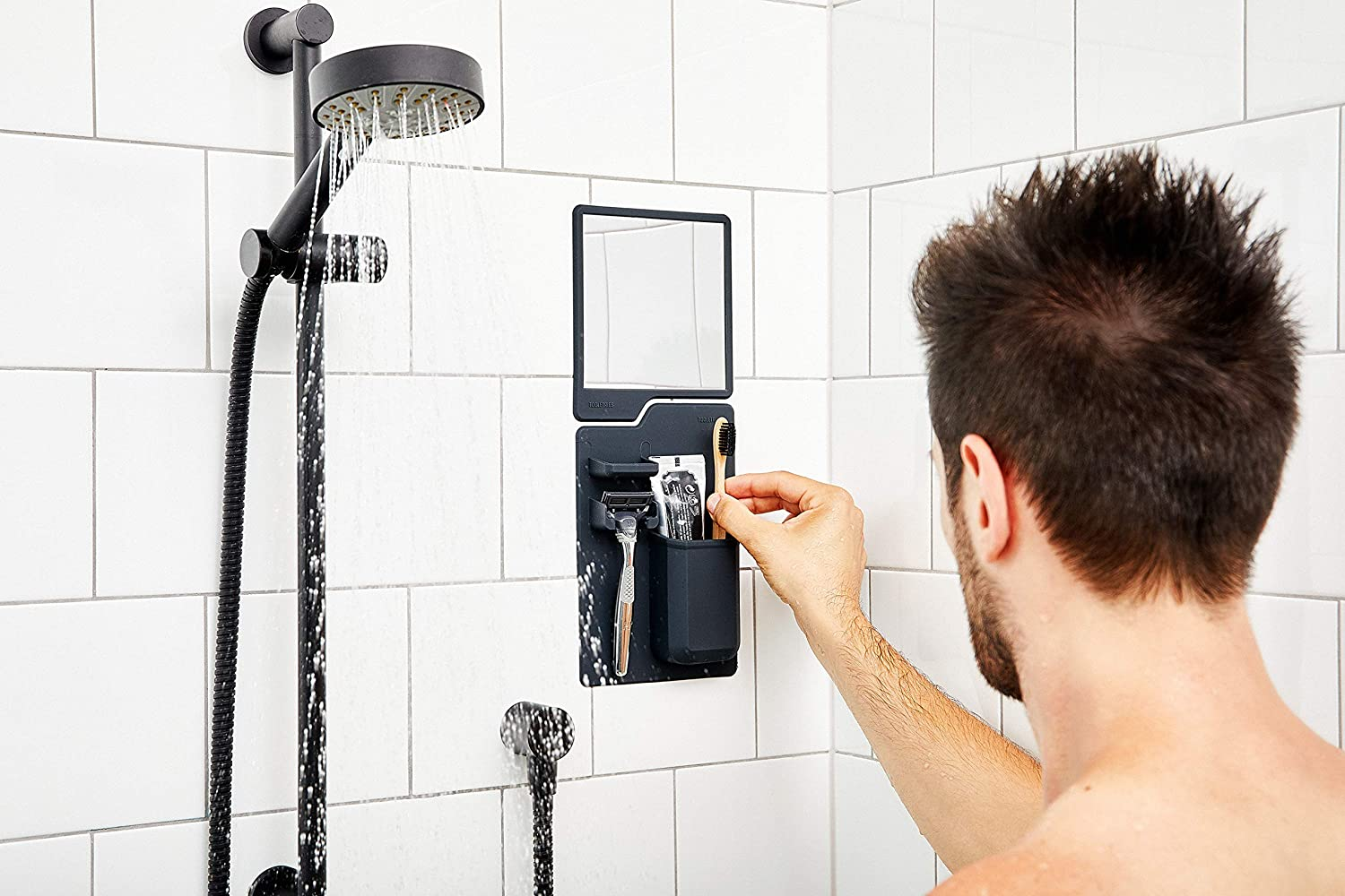 Shower Mirror. Silicone Toiletry Organizer Shower And Bathroom Features Silicone Grip Technology Tooletries Silicone Waterproof Mighty Mirror Grey The Oliver