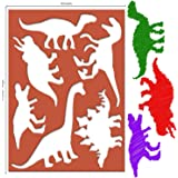 Karty Large Dinosaur Stencils for Kids Extra Thick Includes 20 Large Dinosaur Shapes with Pictures and Info About Each…