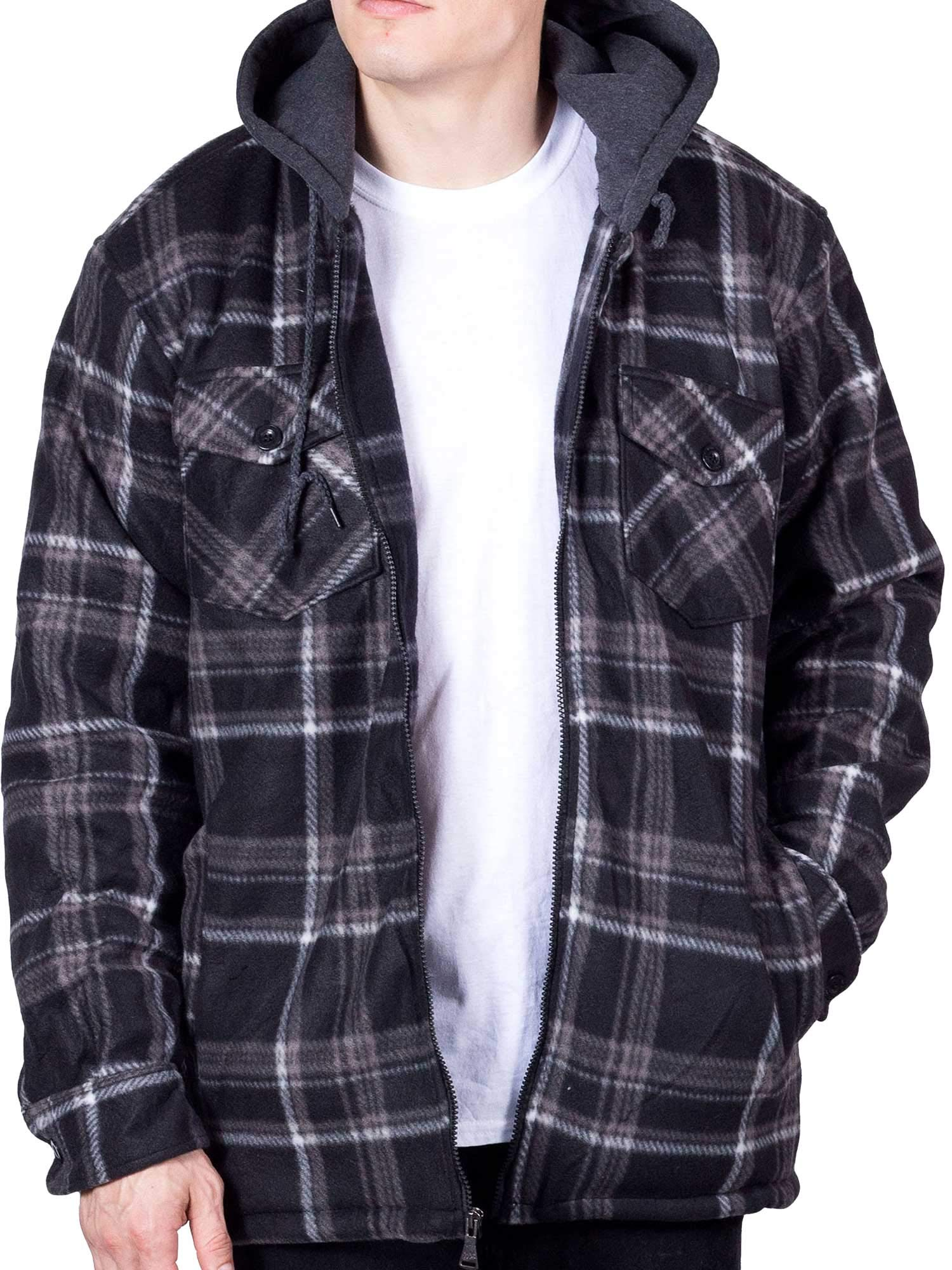 Visive Hoodie Flannel Fleece Jacket for Men Zip Up Big & Tall Lined Sherpa Sweatshirts (X-Large,Black/Grey) by Visive
