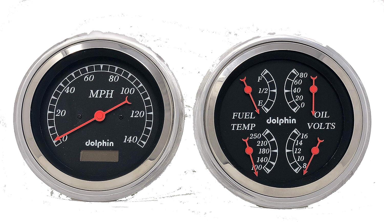 Dolphin Gauges 1947 1948 1949 1950 1951 1952 1953 Chevy Truck 5 Gauge Rear Mount Dash Panel Insert Polished Billet Aluminum