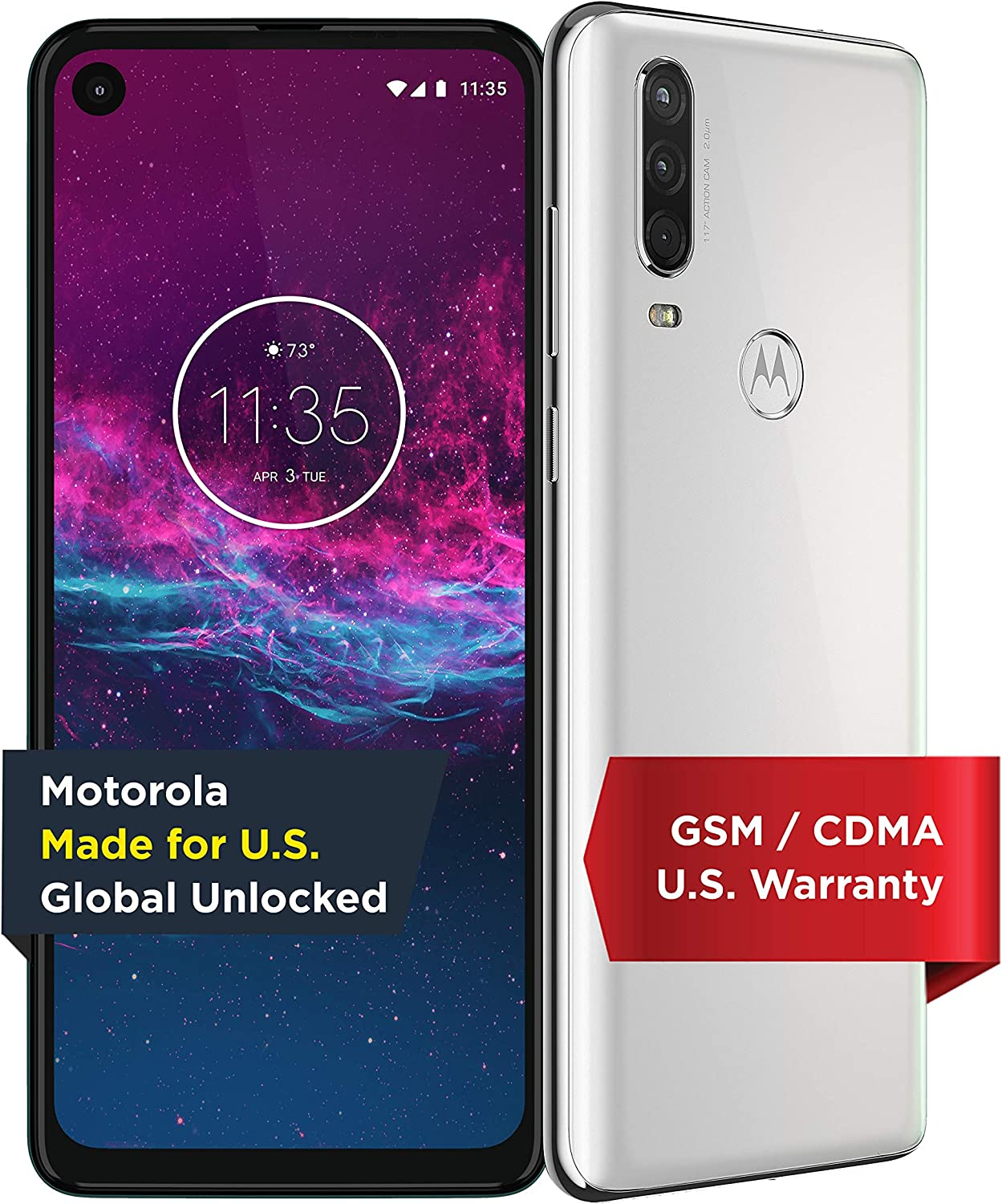 Motorola One Action | Unlocked | Made for US by Motorola | 4/128GB | 16MP Camera | White