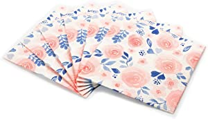 Watercolor Flower Print Cocktail Napkins Set | Decorative & Disposable Paper Napkins for Weddings, Birthdays, Baby Showers, & Holiday Events | Fun & Festive Floral Patterns Bursting with Vibrant Color