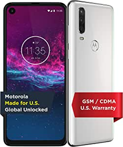 Motorola One Action - Unlocked Smartphone - Global Version - 128GB - Pearl White (US Warranty) - Verizon, AT&T, T-Mobile, Sprint, Boost, Cricket, Metro