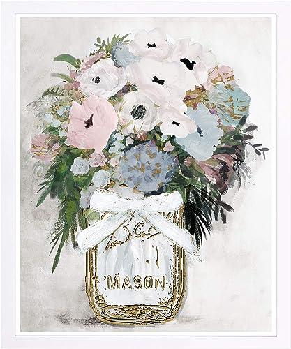 Wynwood Studio Floral and Botanical Framed Wall Art Prints 'Anemone Mason Jar' Home D cor