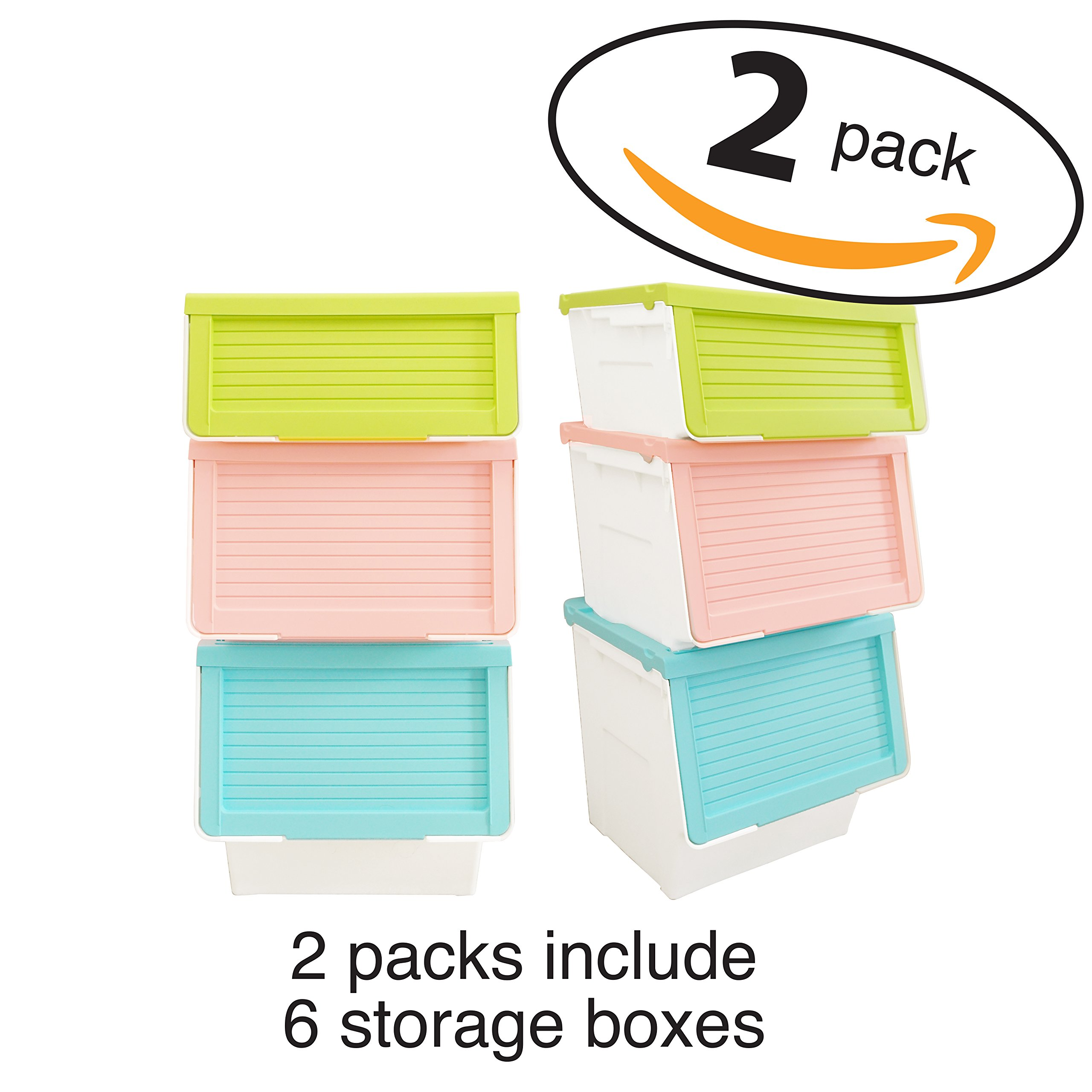 LuxorWare 3 Piece Storage Bins home Organizer for Kids Toys, Clothes & Kitchen food (Green(S), Blue(M), Pink(L)x2)
