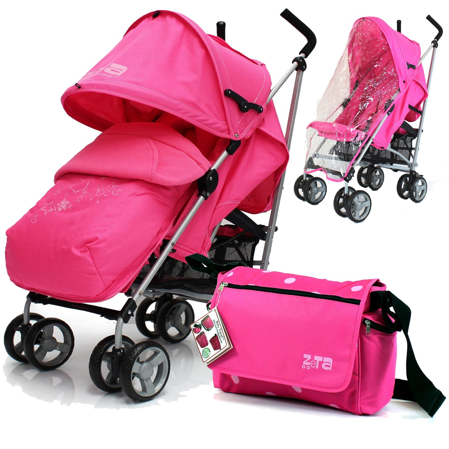 Baby Stroller Zeta Vooom Complete - Raspberry (Pink) With (H&S) Footmuff, Headhugger, Changing Bag And Raincover