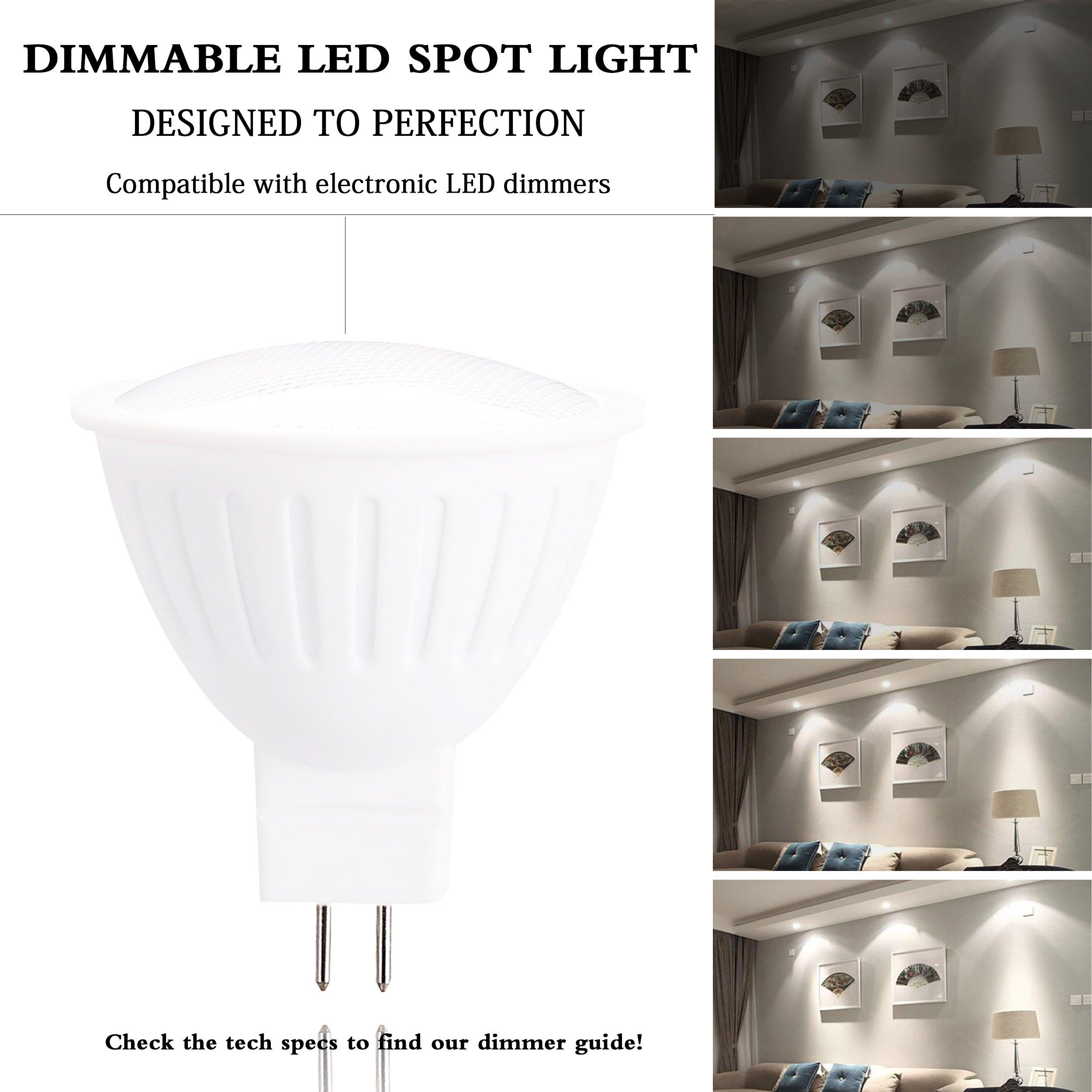 120 Voltage MR16/GU5.3 LED Bulb, 5Watt (50 Watt Halogen Bulbs Equivalence) 500 Lumen Floodlight, GU5.3 Bi-Pin Small Base, Dimmable 120° Beam Angle 4000K Natural White Plug-in Recessed Bulb (6 Pack)