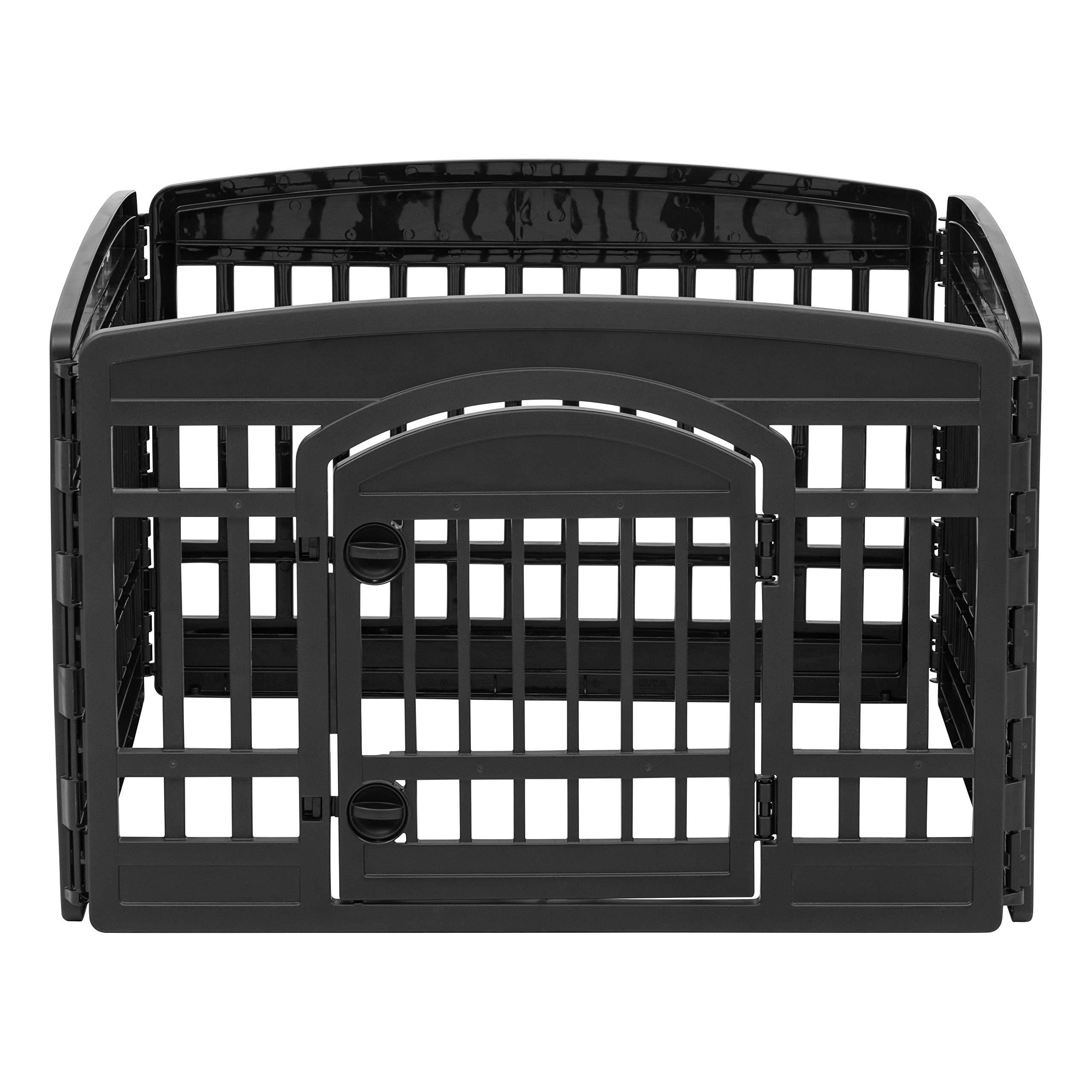IRIS 24'' 4 Panel Exercise Pet Playpen with Door, Black by IRIS USA, Inc. (Image #2)