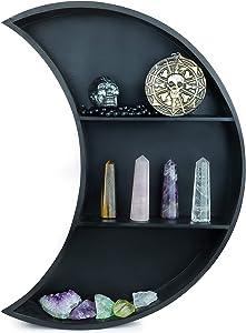 Black Crescent Moon Shelf for Crystals, Essential Oils, and Gothic Decor - Moon Shaped Shelf - Crystal Shelf - Bohemian Decor, Moon Wall Decor for Bedroom, Dorm, Living Room, Nursery