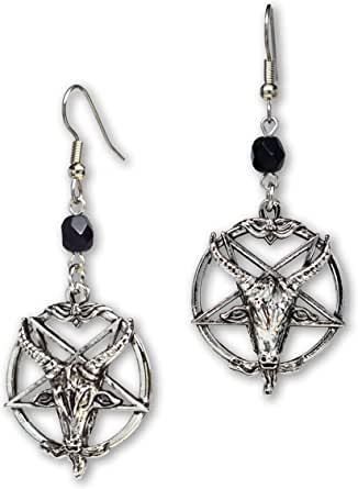 Baphomet Satanic Goat Head Inverted Pentagram Silver Finish Dangle Earrings