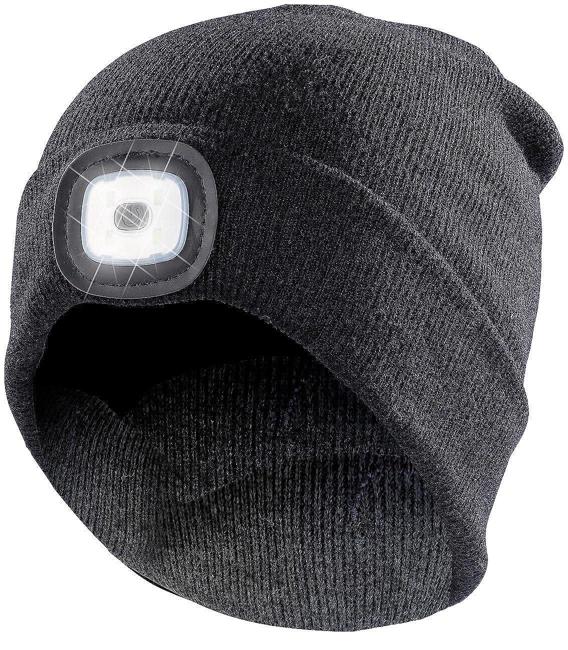 Lunartec Mütze Licht: Schwarze Strickmütze mit LED-Licht, Batteriebetrieb (Stirnlampen)