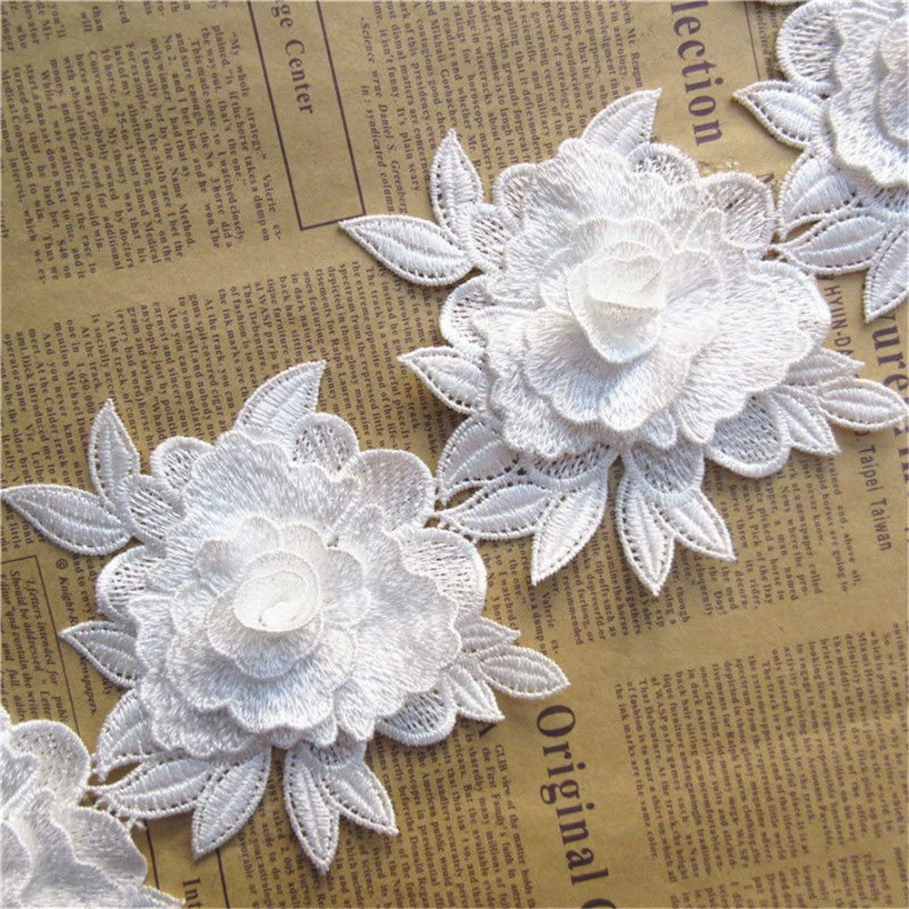 1 Meter 3D Flower Lace Trim Ribbon Vintage Style 12 cm Width Embroidered Applique DIY Sewing Craft Hat Millinery Headband Upholstery Wedding Bridal Bridesmaid Dress Clothes Embellishments