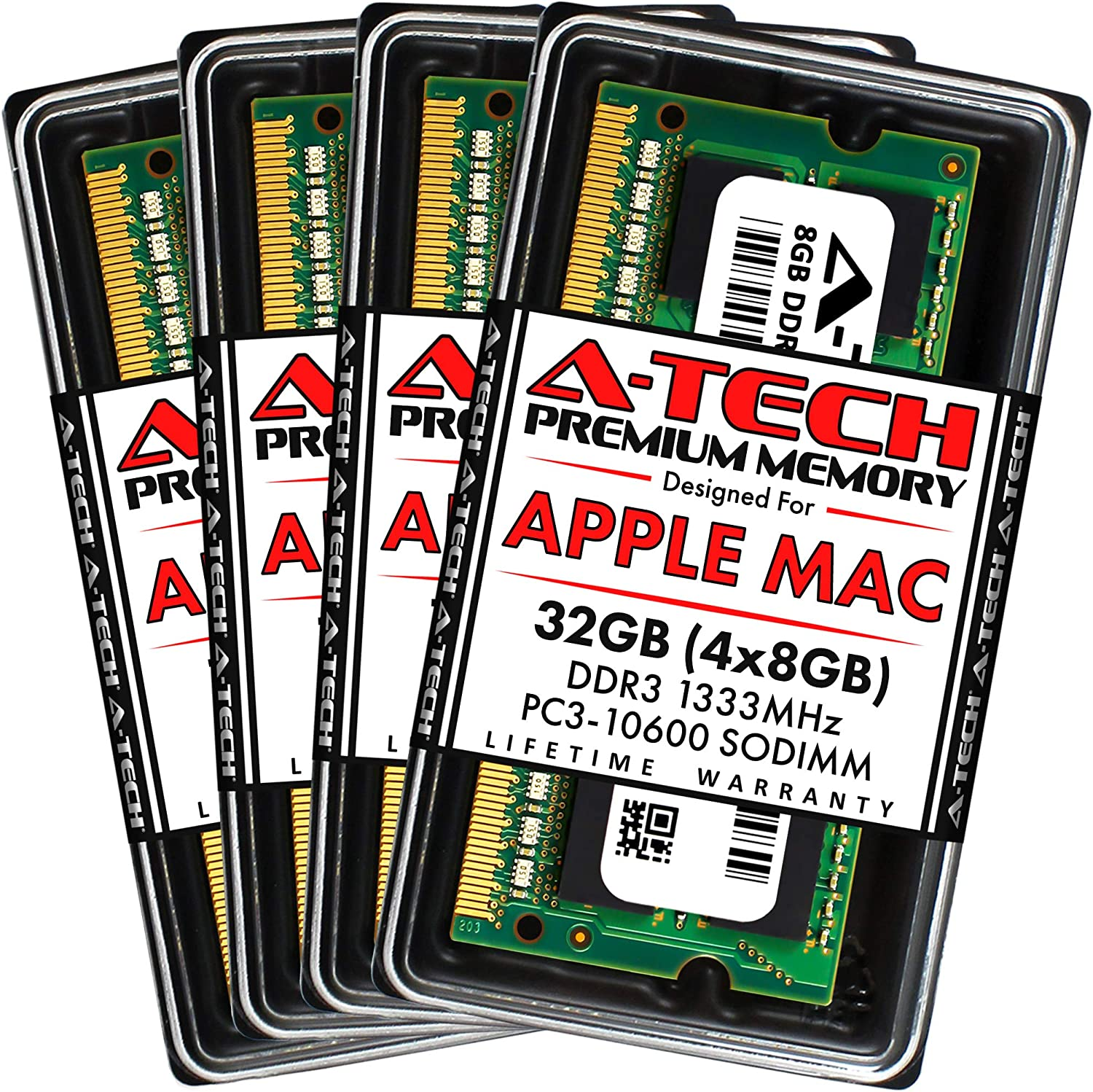 A-Tech 32GB Kit (4x8GB) DDR3 1333MHz SODIMM PC3-10600 RAM for Apple iMac (Mid 2010 27 inch, Mid 2011 21.5/27 inch) | Max Memory Upgrade