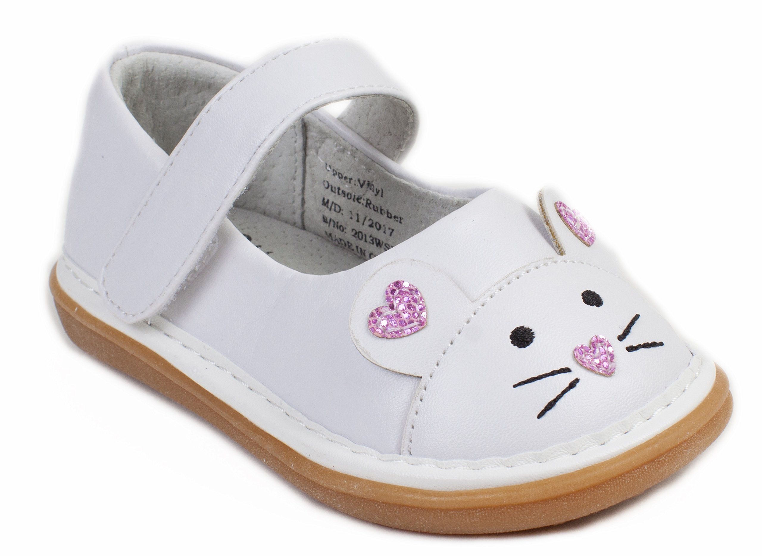Wee Squeak Mouse Mary Janes White - Size 5