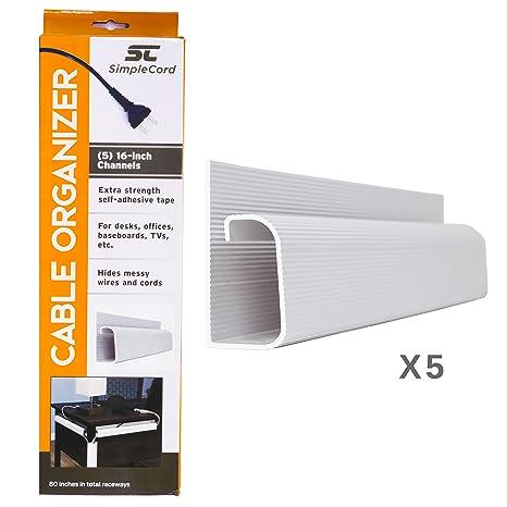 Amazon.com: J Channel Desk Cable Organizer by SimpleCord – 5 White ...