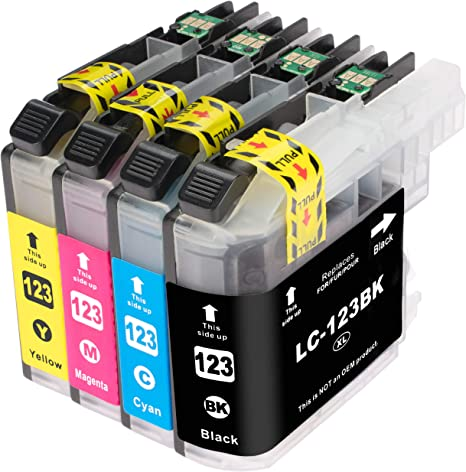 ESMOnline 4 XL Cartuchos de tinta de Brother LC123 LC121 (V2 Chip ...
