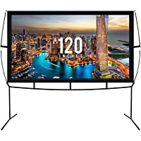 Fast Assembly Design - No Tools Needed - Jumbo 120 Inch 16: 9 Portable Outdoor and Indoor Movie Theater Front and Rear…