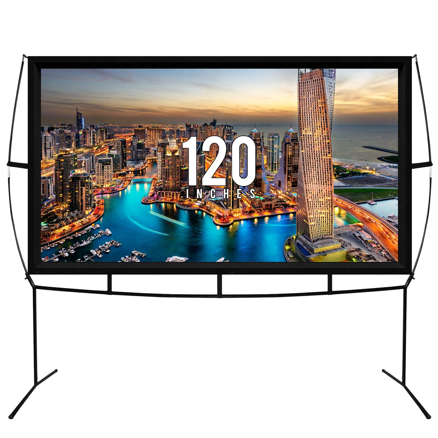 Fast Assembly Design - No Tools Needed - Jumbo 120 Inch 16:9 Portable Outdoor and Indoor Movie Theater Projector Screen with Stand Legs