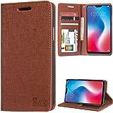 DMG Leather Flip Cover for Vivo V9 Pro, Premium Wallet Flip Cover Stand Case for Vivo V9 Pro (Texture ID Brown)