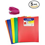 5 Pack C-Line Two-Pocket Heavyweight Poly Portfolio with Prongs, For Letter Size Papers, (Blue, Green, Orange, Red and Yellow) with Pink Tot stapler