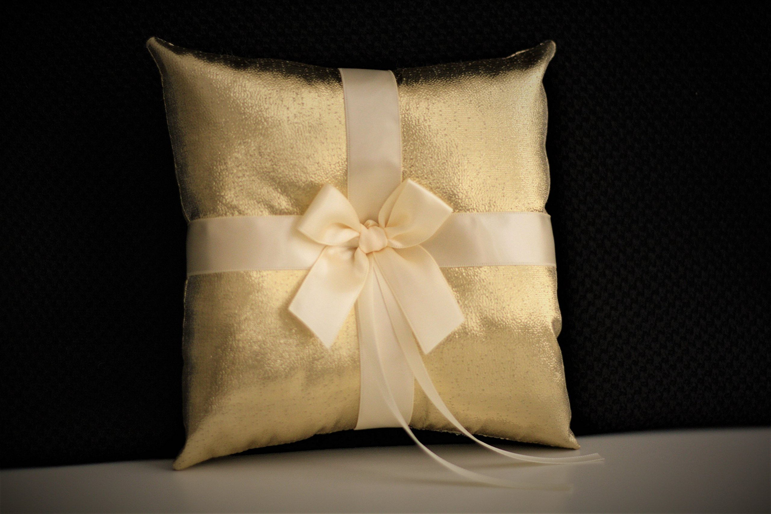 Gold Ivory Wedding Ring Bearer Pillow, Ivory Gold Wedding Accessories / Handmade Gold Wedding Ring Pillow, Gatsby Style Wedding | Alex Emotions | Gold Collection by Alex Emotions