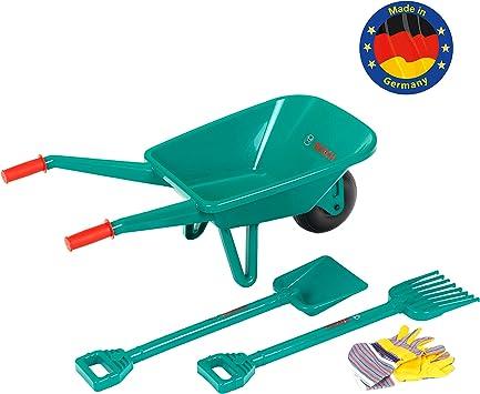 Theo Klein-2752 Set de jardinería con carretilla Bosch, Con pala, rastrillo y guantes de trabajo,