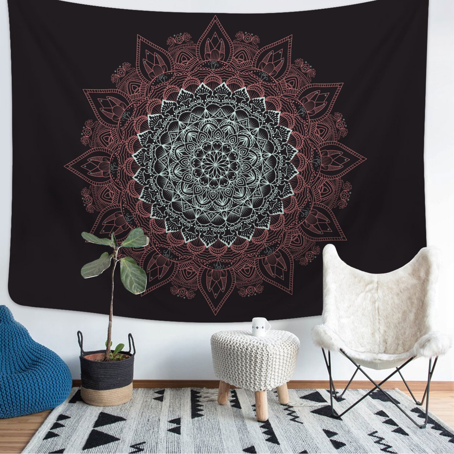 Tapestry Wall Tapestry Wall Hanging Moon and Stars Tapestry Forest Starry Night Sky Tapestry Tree Tapestry Blue Tapestry Star Tapestry Space Tapestry for Home Room Decor (Black, L-59.1''x82.7'')
