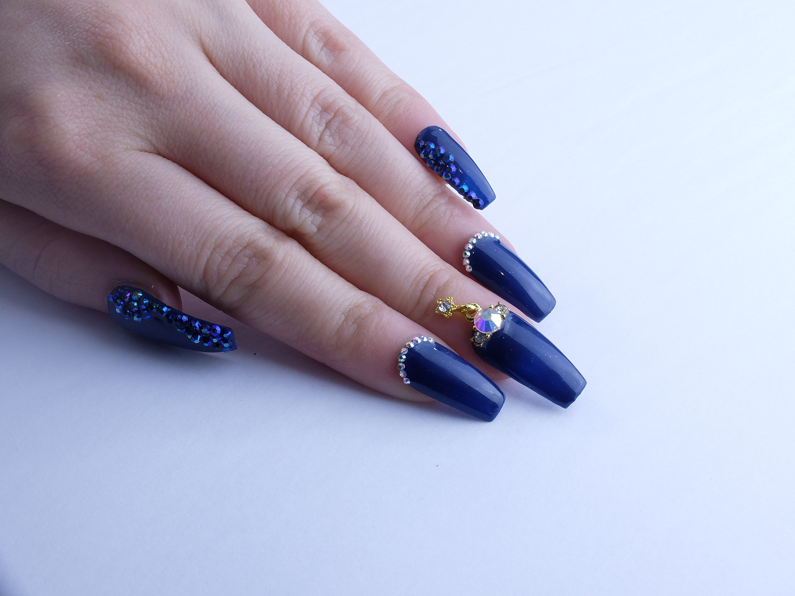 Cosmic Navy Custom Press on Nails