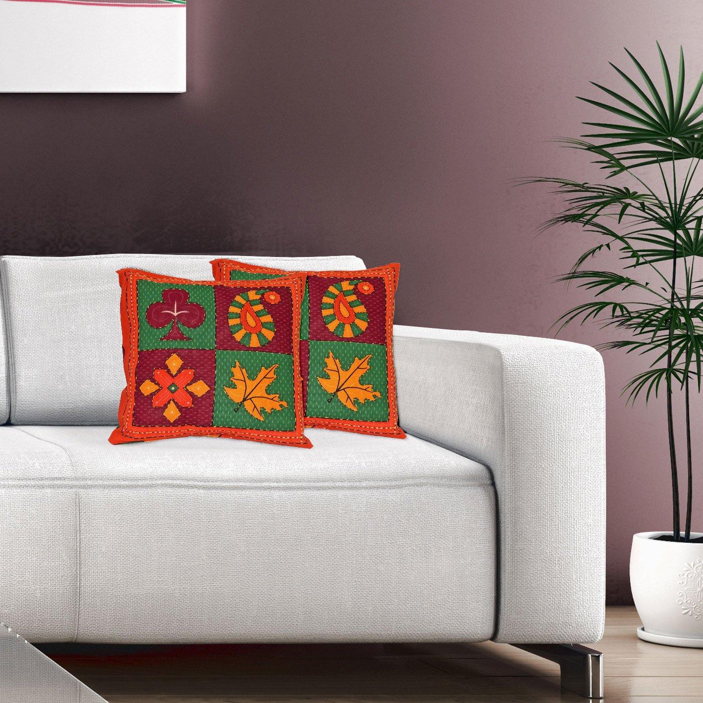 2のセットホームデコレーションスロー枕クッションカバー16 x 16インチ( 45 x 45 cms ) - Perfect forベッドSofas 100 %ピュアコットンクリスマスギフト 16 inches x 16 inches cushion cover025  マルチ3 B01N3YUWR4