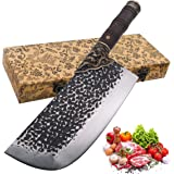 """KITORY Cleaver Butcher Knife 8"""" Handmade Art Cleaver Knife LongQuan Forged Chinese Traditional Kitchen Chef`s Knife Hammered"""