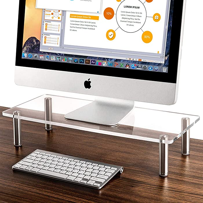 Nekmit Clear Acrylic Computer Monitor Stand Space Saver Desktop Riser with Brushed Aluminum Legs, 9.5''x 22''