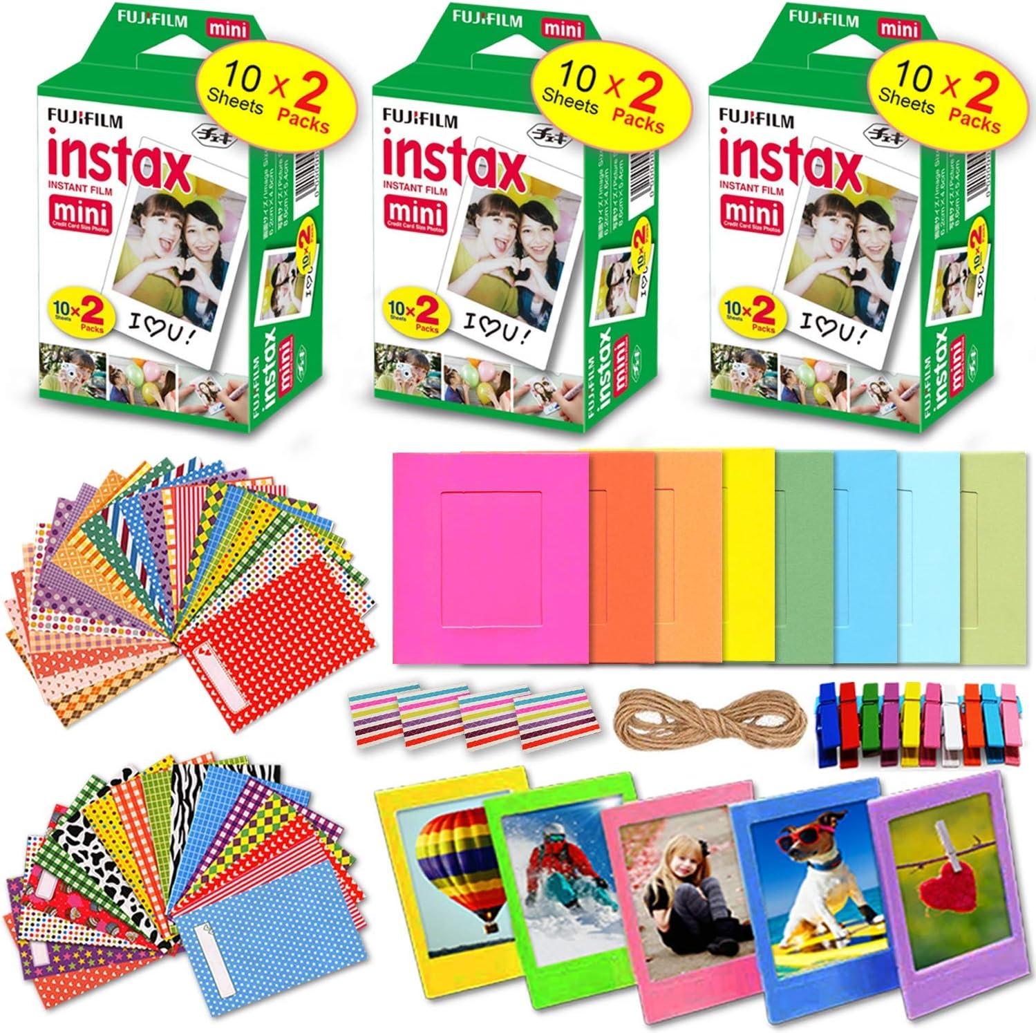 XTECH Kit de accesorios para Fujifilm Instax Mini 9/8 Cámara incluye: 3 x Fujifilm Instax Mini película Pack (60 hojas total), 60 colores Mini 9 adhesivo Marcos, colorido plástico y Marcos de