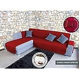 Lucena Cantos - Cubre Sofá Reversible, (Rojo/Negro, Chaise ...