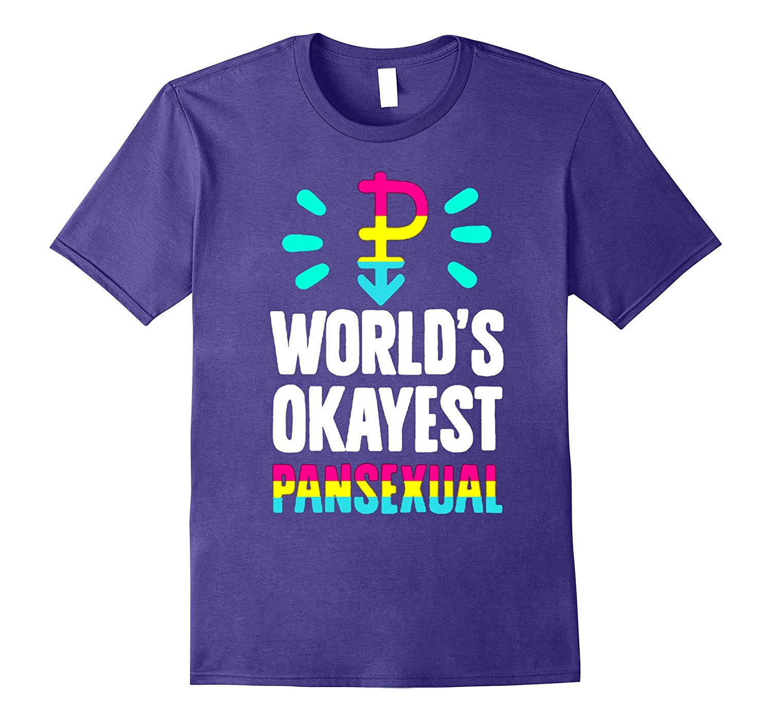 worlds okayest pansexual 2017 rainbow gay pride flag t shirt-CD
