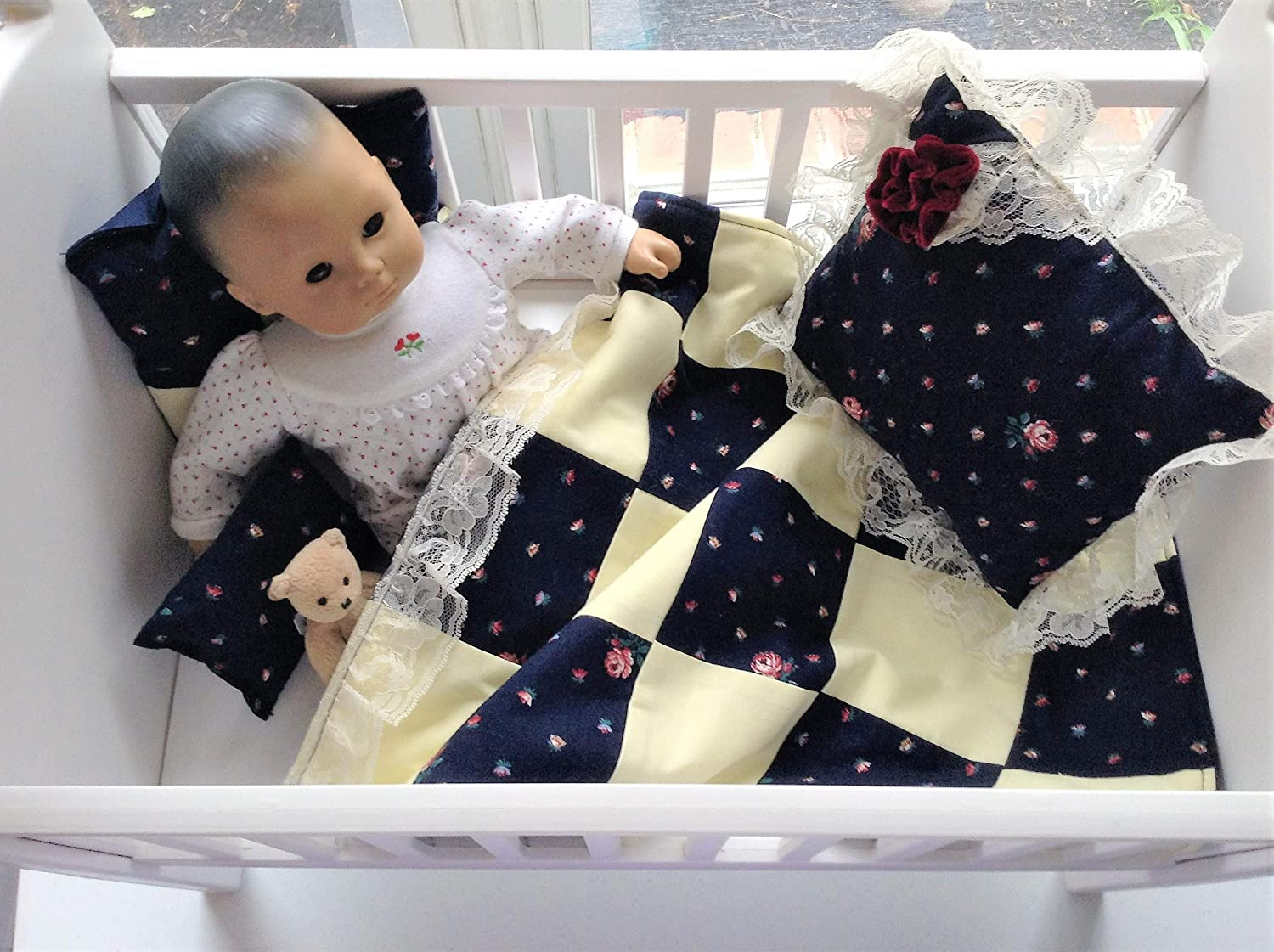 Bitty Baby Crib American Girl Blue Yellow Handmade Patchwork Block Style Quilt Patchwork Quilted Blanket Doll Bedding Set With 3 Pillows