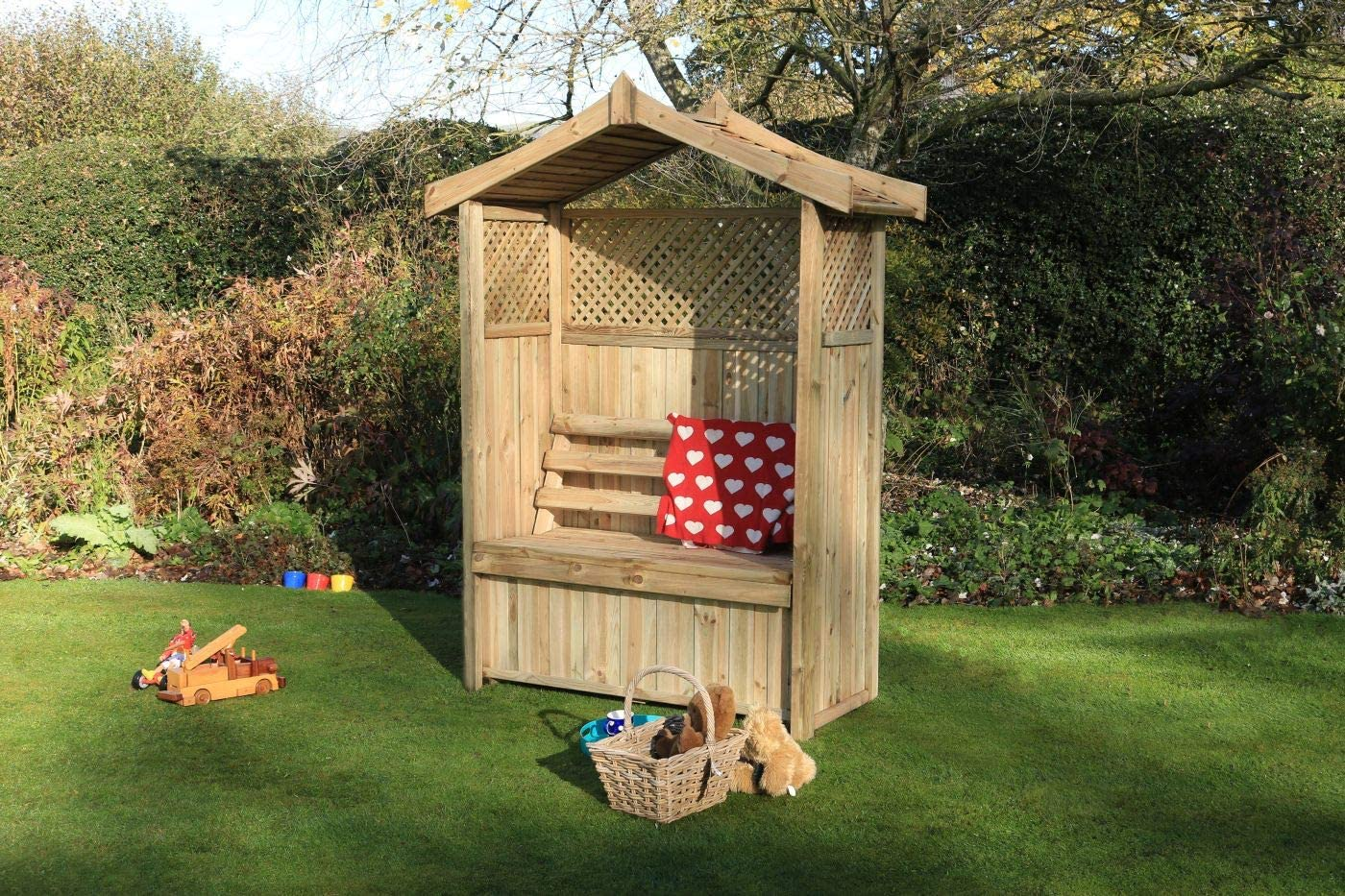 Asiento de jardín Arbour Pergola celosía madera banco de arco Corner Almacenamiento Muebles – 10 años de garantía contra rojo, Barcelona Arbour: Amazon.es: Hogar