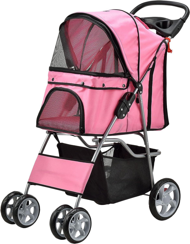 [pro.tec] Carrito para mascotas Pet Stroller Hundebuggy impermeable, para empujar, Roadster, con cesta para guardar objetos, rosa