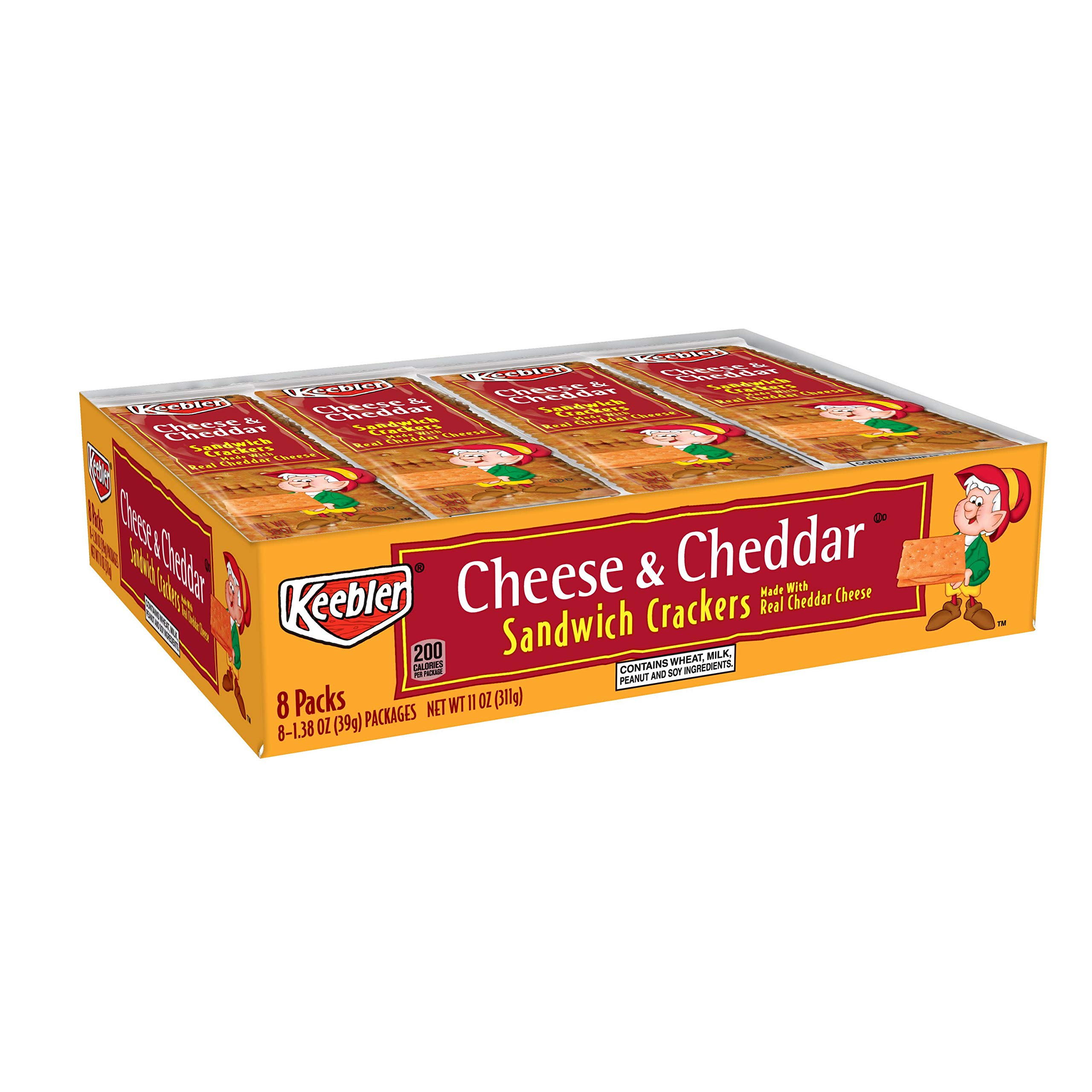 Keebler Cheese and Cheddar Sandwich Crackers, Single Serve, 1.38 oz Packages, 8 Count(Pack of 6) by Keebler