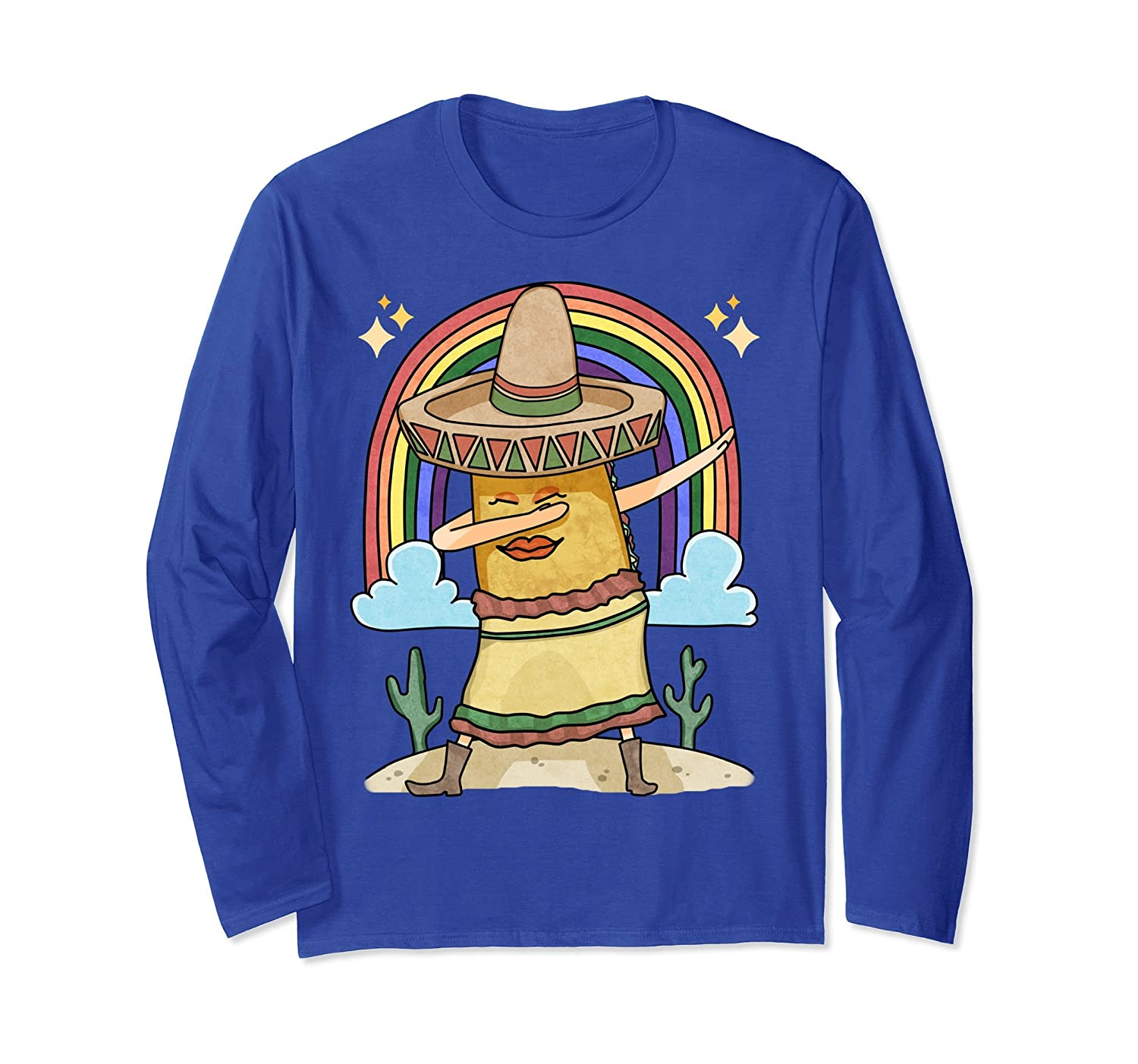 Taco Girl Dabbing Mexican Culture Lover Long Sleeve T-Shirt-alottee gift