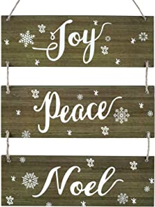 Christmas Rustic Hanging Signs Decoration Winter Large Vintage Vertical Wooden Decor Signs with Rope Joy Peace Noel Wall Decor for Farmhouse Classroom Office Decoration