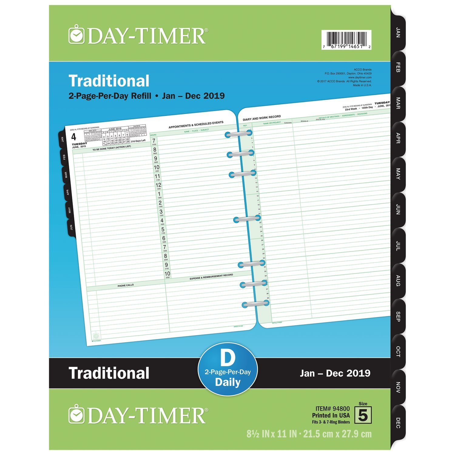 Day-Timer 2019 Planner Refill, 8-1/2'' x 11'', Folio Size 5, Two Pages Per Day, Loose Leaf (94800)