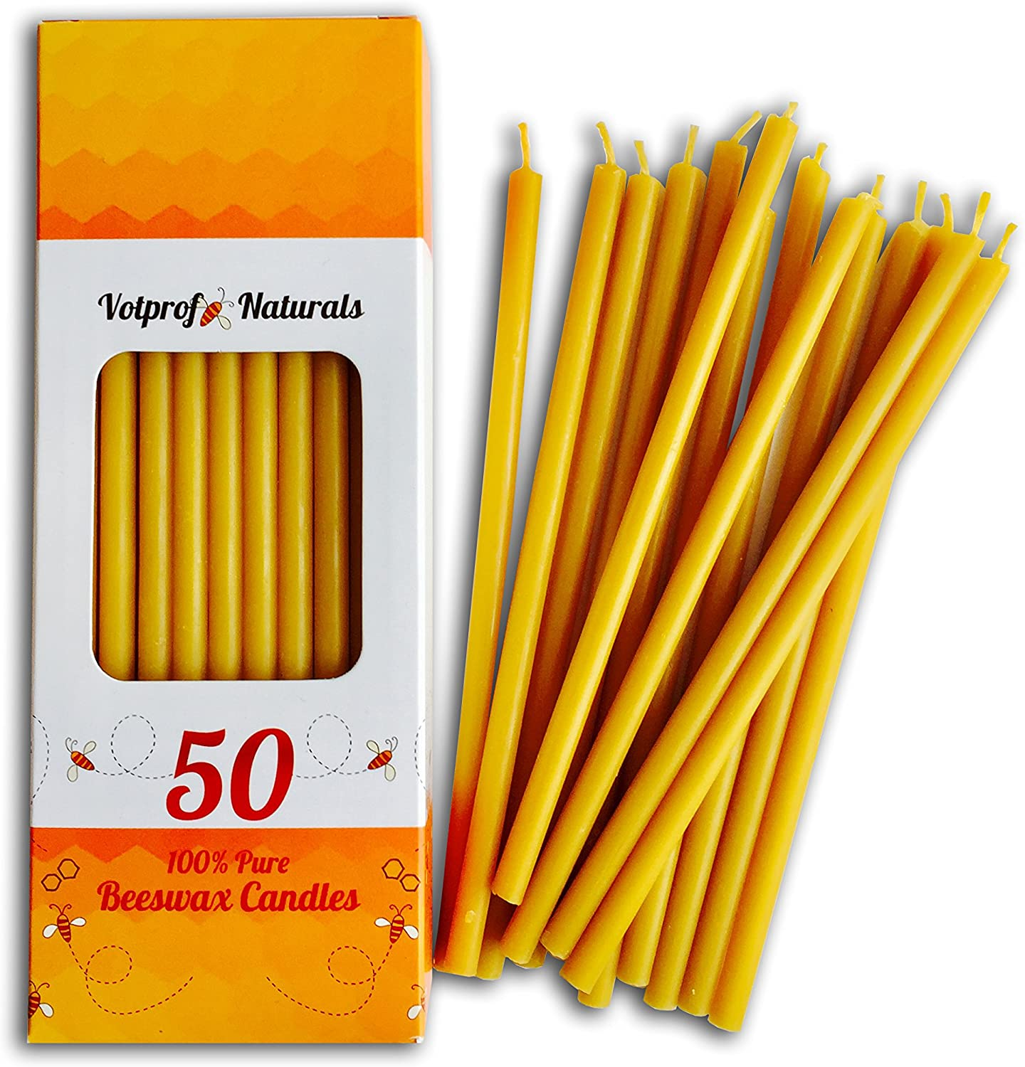 50 All Natural Décor 100% Pure Beeswax Taper Candles – Tall (6 in), Unscented, Dripless, Smokeless, Slow Burning, Non Toxic, Honey Scent - for Home, Dinner, Cake, Prayer, Church, Hanukkah, Christmas