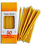50 All Natural Décor 100% Pure Beeswax Taper Candles – Tall (6 in), Unscented, Dripless, Smokeless, Slow Burning, Non…