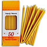 50 All Natural Décor 100% Pure Beeswax Taper Candles – Tall (6 in), Unscented, Dripless, Smokeless, Slow Burning, Non Toxic,
