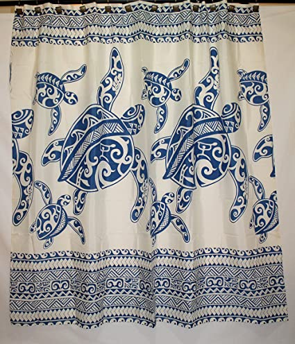 Amazon.com: Hawaii Theme 100% Polyester Fabric Shower Curtain Blue ...