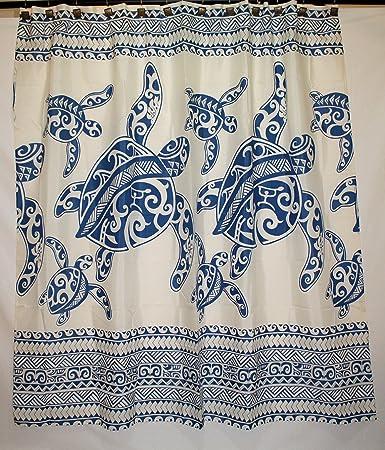 Hawaii Theme 100% Polyester Fabric Shower Curtain Blue Sea Turtle