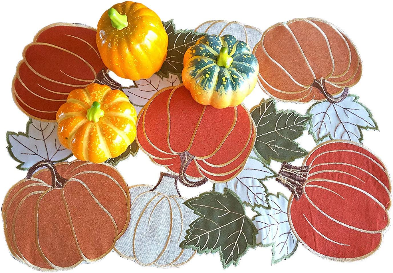 Thanksgiving Fall Harvest Placemats,Cutwork Applique Embroidered Orange Pumpkins Placemats for Home Dinner Holiday Festival Decorations,13×18inch Set of 4